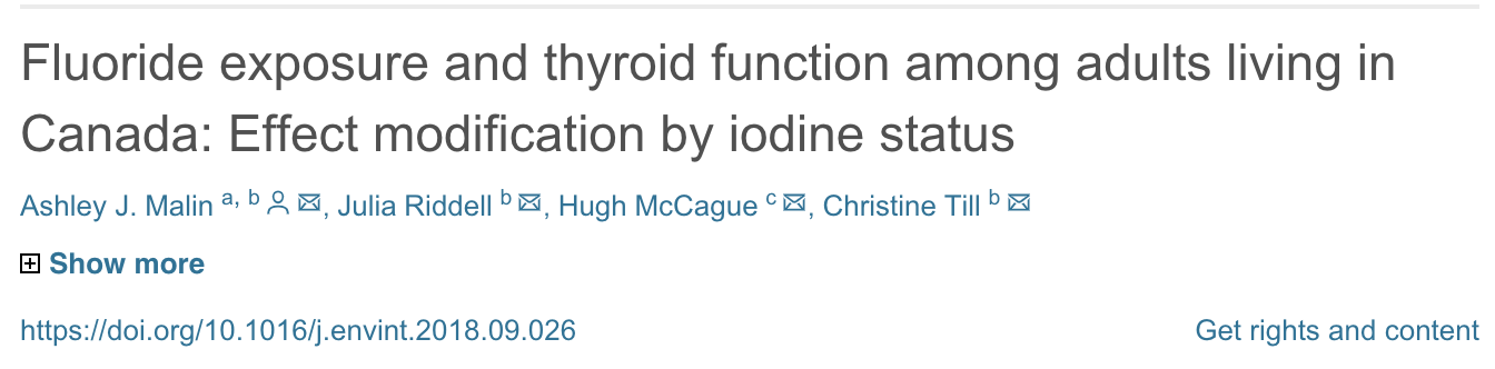 Fluoride exposure and thyroid function among adults living in Canada: Effect modification by iodine status